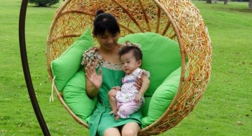 rattan hanging round reading chair