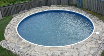 round inground swimming pools for small spaces with stone patio