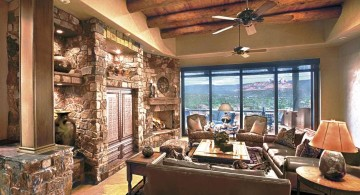 rustic tuscan living room designs with ceiling fan
