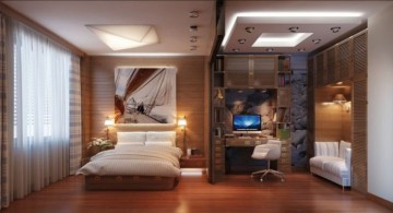 spacious modern asian bedroom with wooden floor
