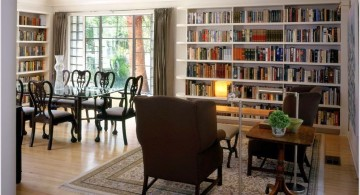 spacious mounted bookshelves in dining room