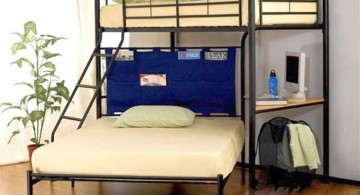 thin black frame adult loft beds with desk