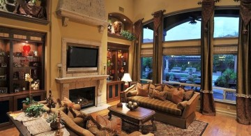 tuscan living room colors in dark olive and wooden floor