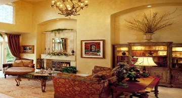 tuscan living room designs with red sofa