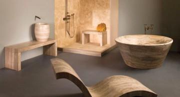 unique wooden furnitures for Japanese bathroom designs