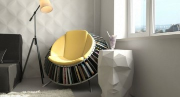 unique yellow round reading chair that also a bookshelf