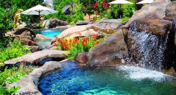 waterfalls for pools inground in the garden