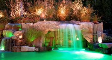 waterfalls for pools inground with beautiful lighting