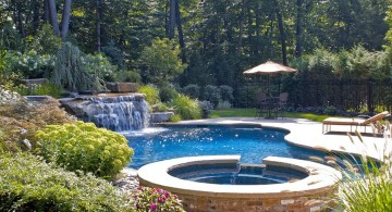 waterfalls for pools inground with jacuzzi and tiki hut