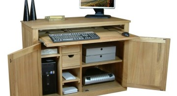 wide hideaway desk designs for small office