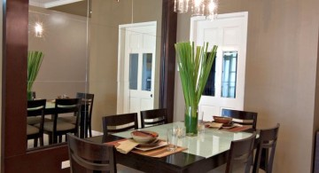 zen dining rooms with mirror wall